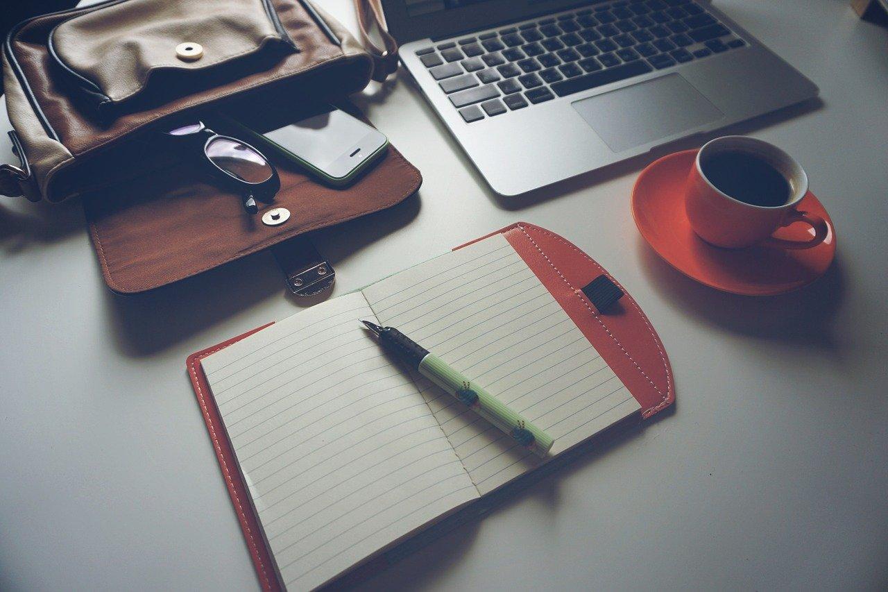 laptop, coffee, notebook